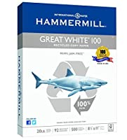 Hammermill Great White 100% Recycled Copy Paper 20lb 8.5 x 11 Letter 92 Bright 500 Sheets / 1 Ream (086790) [並行輸入品]