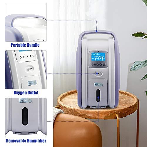 HUKOER Concentrador de oxígeno púrpura 1-5 L/min Generador de concentrador de oxígeno doméstico ajustable 90% ± 3% Purificador de aire portátil de alta pureza Generador de oxígeno para automóvil
