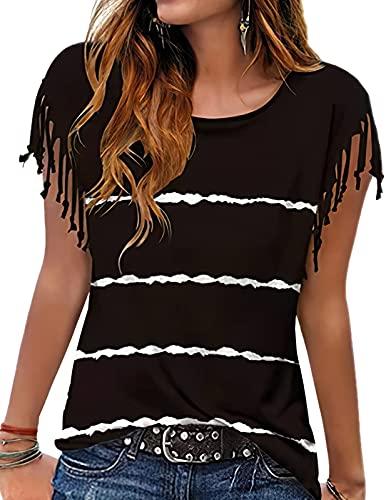 Camiseta de verano para mujer, parte superior de borlas, blusa corta, cuello redondo, a rayas, tops sueltos, Negro , S