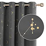 Deconovo Blackout Curtains Thermal Insulated Curtains Gold Constellation Printed Eyelet Curtains for Bedroom W46 x L54 Light Grey One Pair
