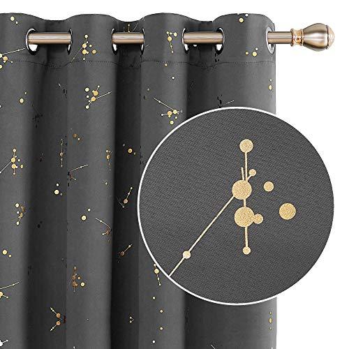 Deconovo Vorhang Verdunkelungsvorhänge mit Ösen Wohnzimmer Thermogardinen Blickdicht 160x132 cm Hellgrau 2er Set