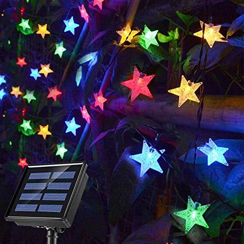 QULONG 50 Luces LED solares de Cadena para Exteriores, 8 Modos de Luces solares Multicolores Luces de jardín al Aire Libre, Luces de Cadena de Estrellas solares Impermeables para Navidad, Boda, fie