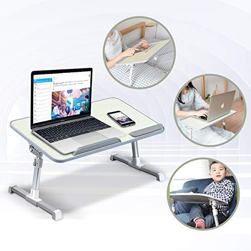 ETE ETMATE - Soporte ajustable para ordenador portátil con ventilador de refrigeración, mesa plegable con patas elevadoras, soporte para ordenador portátil para leer y escribir en la cama sofá