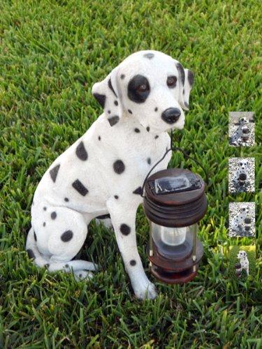 Outdoor Dalmatian Dog with Lantern Solar Light
