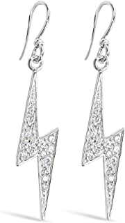 925 Solid Sterling Silver Dangling Cubic Zirconia Large Lightning Bolt Earrings, Dangle CZ Shazam Jewelry