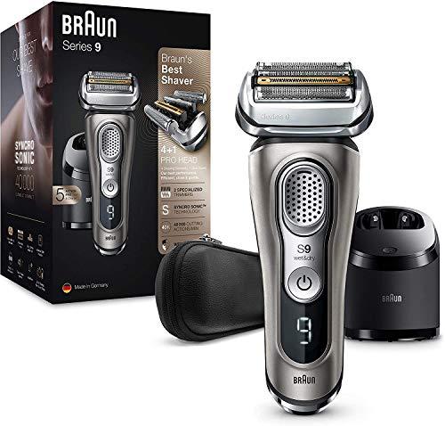 Braun Series 9 9385cc Rasoio Elettrico Barba Ricaricabile Senza Fili, Grafite, Stazione Clean&Charge E Custodia, Wet&Dry, Batteria Li-Ion, 100% Impermeabile