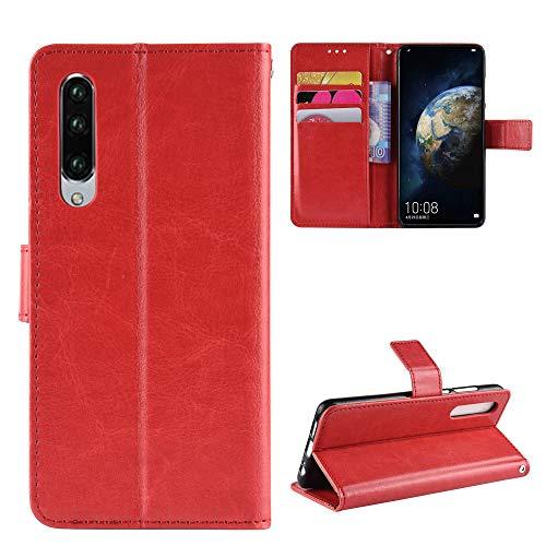 Snow Color Huawei P30 Hülle, Premium Leder Tasche Flip Wallet Case [Standfunktion] [Kartenfächern] PU-Leder Schutzhülle Brieftasche Handyhülle für Huawei P30 - COBYU030560 Rot