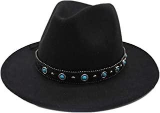 2019 Mens Womens Hats Womens Winter Wool Polyester Fedora Hat for Women Lady with Punk Belt Winter Outdoor Church Casual Hat Wide Brim Fascinator Hat (Color : Black, Size : 56-58)