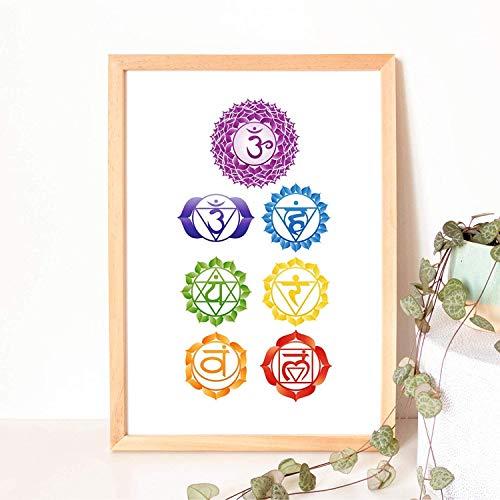 Din A4 Kunstdruck ungerahmt - Sieben Chakren Chakra Meditation Buddhismus Yoga Zen Symbole Druck Poster Bild
