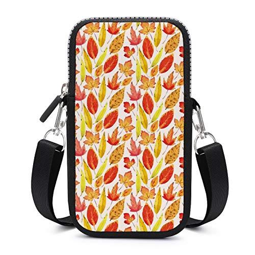 Bolso bandolera con correa extraíble para el hombro, hermosas hojas de otoño, resistente al desgaste, para el brazalete del teléfono, cartera para correr, hombres