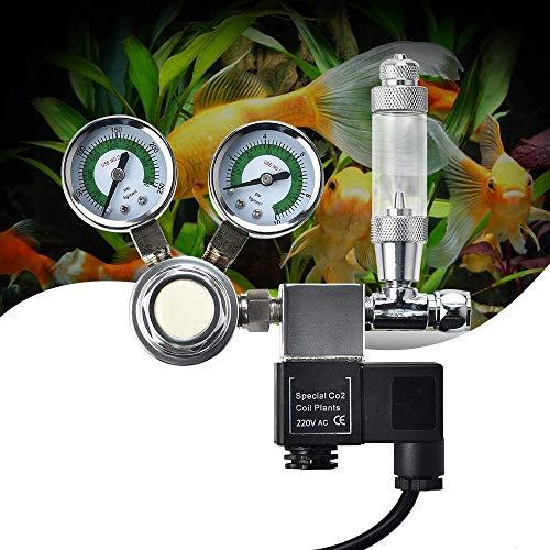 KKTECT Acuario regulador de CO2 Interfaz Big Dual Gauge Display W21.8, con Contador de Burbujas, válvula de retención, válvula solenoide para Plantas acuáticas Ajuste el Nivel de CO2
