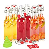 SXUDA Swing Top Glass Bottles BPA-Free 16oz Flip Top Airtight Brewing Bottle (6 Pack) with Free 3 Stoppers 1 Funnel 6 gaskets for Kombucha, Beer, Oil and Vinegar, Beverages, Homemade Juices