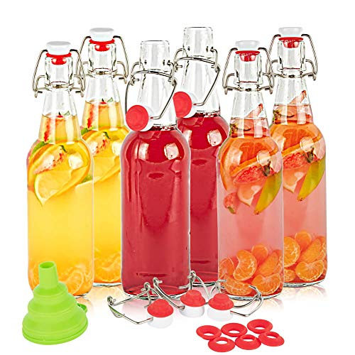 SXUDA Swing Top Glass Bottles 16oz Flip Top Airtight Brewing Bottle (6 Pack) with Free 3 Stoppers 1 Funnel 6 bonus gaskets for Kombucha, Beer, Oil and Vinegar, Beverages, Homemade Juices