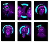 Coobal Classic American Rapper Wall Art Poster Print-POP Smoke, Rae Sremmurd, Swae Lee, The Notorious Big, Travis Scott Neon, Tupac Shakur Modern Printed Giclee Artwork-Unframed, 12x16 Inch 6 Piece