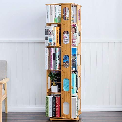 360 ° Drehbares Bücherregal Einfaches Bücherregal Mit Massivholzboden, 3/4/5/6-lagig Standregal Ablageregal Verstellbares Laminatregal Wohnzimmer Arbeitszimmer Kombinationsregal ( Color : 5 layers )