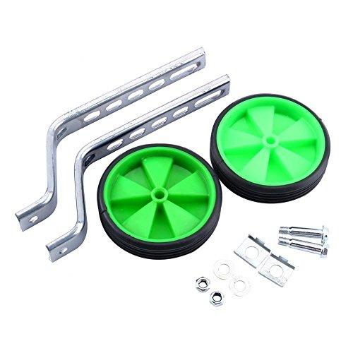 Rueda De Entrenamiento De Bicicleta, Estabilizador De Ruedas Laterales De Entrenamiento Ajustable De 2 Piezas Para NiñOs Con Equilibrio De Bicicleta De 12-20' (Verde)