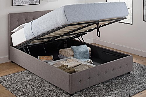 DHP Cambridge Upholstered Linen Platform Bed with Wooden Slat Support and Under Bed Storage, Button Tufted Headboard, Queen Size - Grey