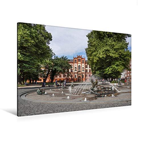 CALVENDO Premium Textil-Leinwand 120 x 80 cm Quer-Format Brunnen der Lebensfreude vor der Universität Rostock, Leinwanddruck von Thomas Becker