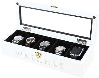 Watch Box Jewelry Storage Watch Display Box Case Glass Lid 8 Grid Watch Jewellery Storage Organizer Case Lockable Bracelet...