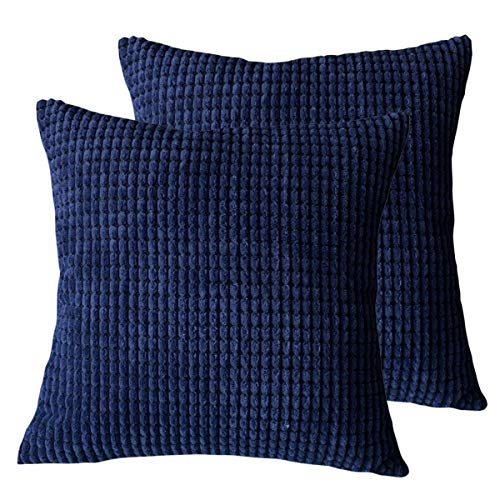 Sue&Joe Pack of 2 Decorative Throw Pillow Covers Soft Corduroy Solid Cushion Case Navy Blue Pillow Cases for Couch Sofa Bedroom Car 18 x 18 Inch 45 x 45 cm