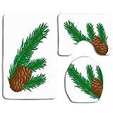 Celebración verde Conos de rama de pino en blanco Naturaleza Resumen Abeto Parques Navidad Primer plano Conífera Alfombra de baño Alfombrilla Juego de 3 piezas, antideslizante Tapa del asiento del ino