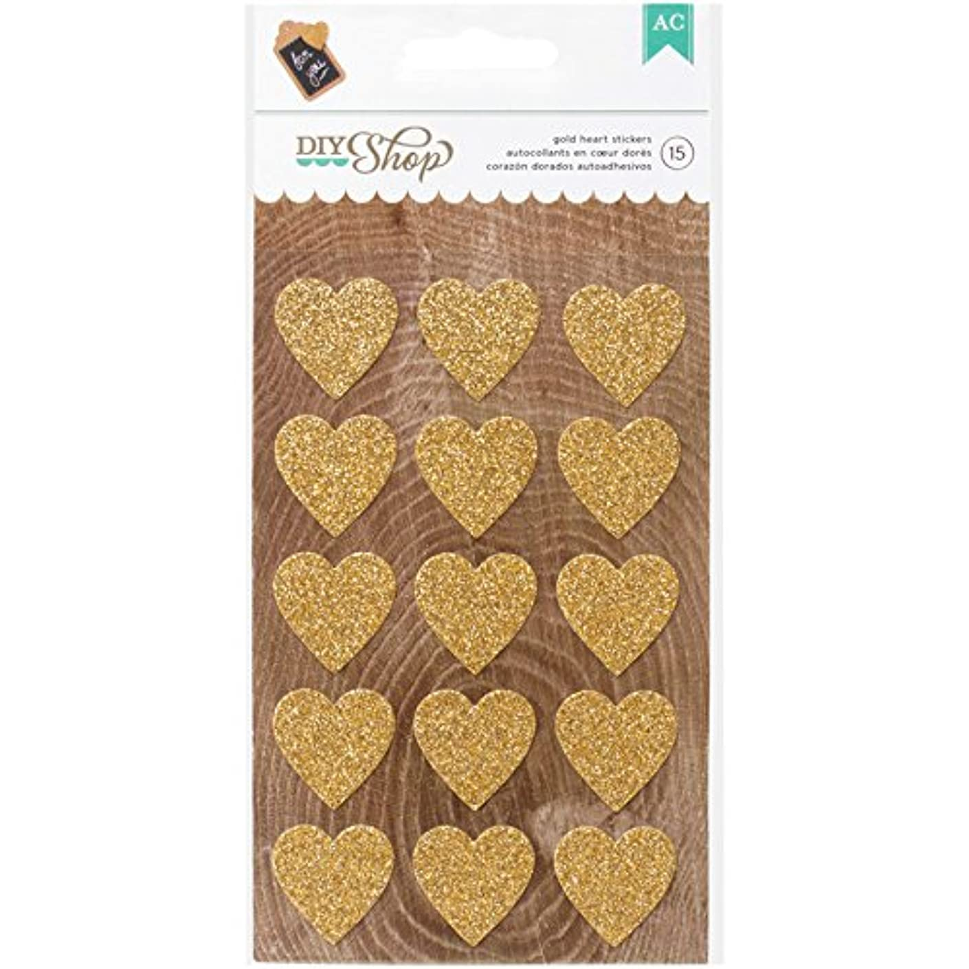 American Crafts DIY Shop 2 Hearts Glitter Stickers, Gold