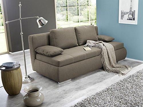expendio Dauerschläfer Schlafsofa Merlin 210x112cm Hellbraun, Sofa Boxspring Couch Doppelliege Schlafcouch