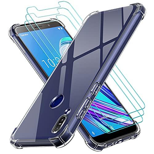ivoler Funda para ASUS Zenfone MAX Pro M1 ZB601KL / ZB602KL con 3 Unidades Cristal Templado, Carcasa Protectora Anti-Choque Transparente, Suave TPU Silicona Caso Delgada Anti-arañazos Case