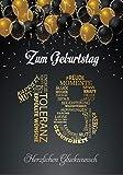 Elegante Glückwunschkarte A5 Geburtstag einzigartig Geburtstagskarte mit Nummer 18 und