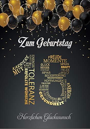 Elegante Glückwunschkarte A5 Geburtstag einzigartig Geburtstagskarte mit Nummer 18 und Glückwünschen Schwarz Gold zum 18. Geburtstag