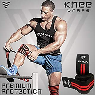 Wyox Sports Knee Wraps (Pair) for Cross Training WODs, Gym Workout, Weightlifting, Fitness & Powerlifting - Knee Straps for Squats - Men & Women - 72