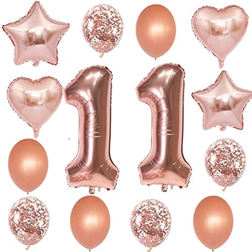 11 luftballon Zahl 11. geburtstag mädchen rosegold kit ,XXL ZahlenBallons 11 Helium Folienballon rosegold für 11 Geburtstag mädchen Deko,8 stk Konfetti Latexballons,4 stk Herz Sterne Folienballon