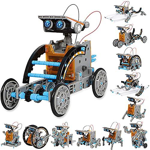 Sillbird Solar Roboter Kinder Spielzeug ab 8 Jahre, 12-in-1 STEM Konstruktion Bauset, 190 Stücke Lernspielzeug Geschenk für Jungen Mädchen ab 8 9 10+ Jahren, Angetrieben durch Solarenergie