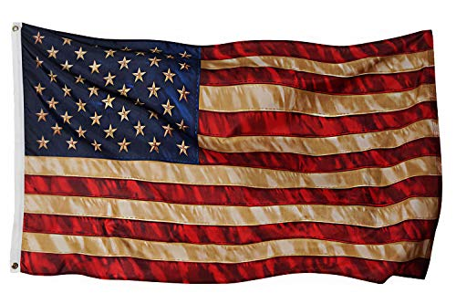 Vintage Flag Tea Stained American Flags 3x5 ft Outdoor United States Primitive Decoration Stained Tea Dye Aged Historical Banner Indoor Brass Grommet