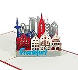 3D KARTE'Frankfurt' I Pop-Up Karte als Reisegutschein, Geburtstagskarte, Geldgeschenk I Klappkarte als Urlaubskarte, Souvenir aus Deutschland