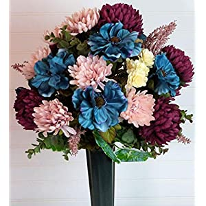 Silk Florals & Frills Fall Cemetery Vase with Purple Mums, Blue Cemetery Flowers for Fall, Fall Grave Arrangement