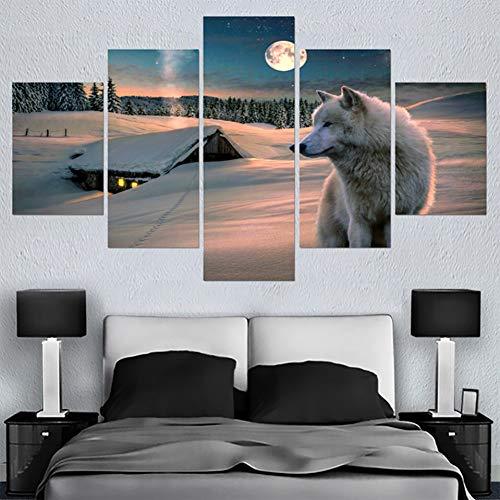 N / A 5 paneles de pintura de pared de arte cartel de casa HD impreso 5 paneles de nieve lobo animal moderno lienzo sala de estar fotos decoración