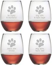 Dog Wisdom 21-ounce Stemless Wine Glasses (Set of 4) are great birthday gifts and couples gifts. The unique wine glasses are top gifts for wedding gifts and relaxation gifts for holiday gifts. The wine glass set are great housewarming gifts and bridal shower gifts as well as birthday gifts for men and birthday gifts for women.