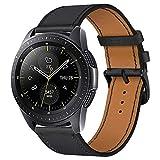 iBazal 20mm Cinturino Pelle Banda Cuoio Bracciale Compatibile con Samsung Galaxy Watch 3 41mm/Galaxy Watch 42mm/Active 40mm/Gear S2 Classic/Sport/Huawei 2/Ticwatch 2/E/Vivoactive 3 Band - Ne