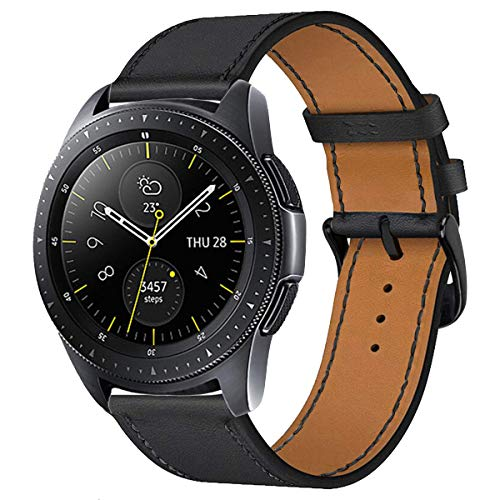 iBazal 20mm Cinturino Pelle Banda Cuoio Bracciale Compatibile con Samsung Galaxy Watch 3 41mm/Galaxy Watch 42mm/Active 40mm/Gear S2 Classic/Sport/Huawei 2/Ticwatch 2/E/Vivoactive 3 Band - Nero