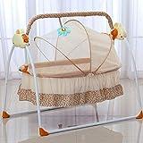 Babybett Wiege Schaukelbett Neugeborene Schlaf Säuglingswippe Kinderbett mit MP3,für 0 und 18 Monaten(99 * 66 * 83cm) (Khaki)