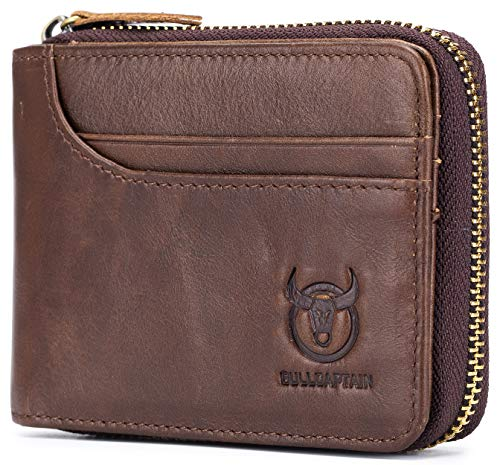 Mens Leather Zipper Wallet RFID Blocking Bifold Secure Vintage Zip Around Multi Credit Card Holder