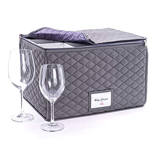 Caja de almacenamiento para botellas y copas de vino, caja protectora para copas de vino, con capacidad para hasta 12 copas de vino, gran regalo de boda o compromiso