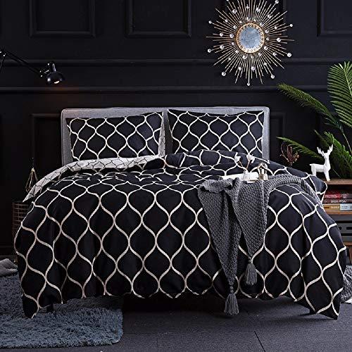 Luofanfei Bettwäsche 220X240 cm Set Mikrofaser Weiß Schwarz Bettwäscheset 3 Teilig Atmungsaktiv mit Geometrisches Muster Deckenbezug King Size Warm Bettbezug Doppelbett Set (220X240cm,ON)