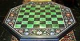 Gifts And Artefacts Mesa de ajedrez de la forma del octágono de la mesa de café de mármol de 21 pulgadas con las piedras semi preciosas multicolor