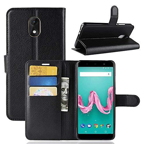 Guran PU Ledertasche Hülle für Wiko Lenny 5 Smartphone Flip Cover Kartenfach Wallet & Stent-Funktions Handyhülle Business Style Etui - Schwarz