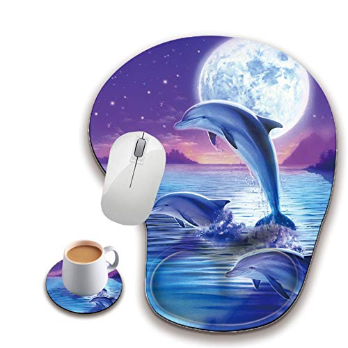 Ergonomic Mouse Pad with Wrist Rest, Cute Mouse Pad with Non-Slip Rubber Base, Suitable for Home Wffice Work, Dolphin Under The Moonlight Custom Mouse Pad + A Round Coaster