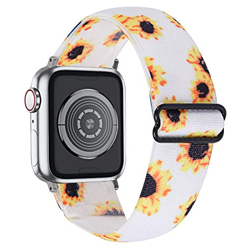 MEFEO Adjustable Elastic Bands Compatible with Apple Watch Bands 38mm 40mm 42mm 44mm, Soft Stretch Bracelet Replacement for iWatch Series 6/5/4/3/2/1&SE Women Girls (Sunflower, 42mm/44mm)