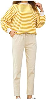RkYAO Women's Linen Slim Elastic Drawstring Casual Weekend Harem Pants