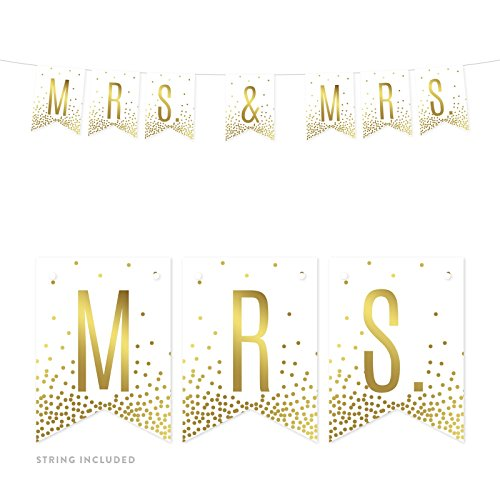 Andaz Press Metallic Gold Confetti Polka Dots on White Lesbian Wedding Party Banner Decorations, Mrs. & Mrs, Approx 5-Feet, 1-Set, Colored Themed Hanging Pennant Decor